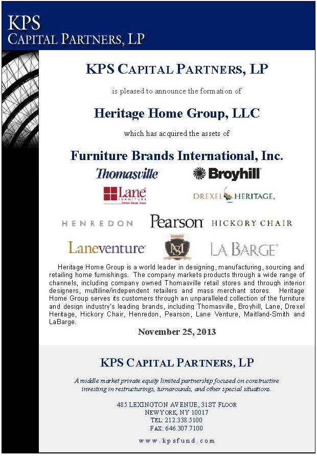 Heritage Home Group Kps Capital Partners