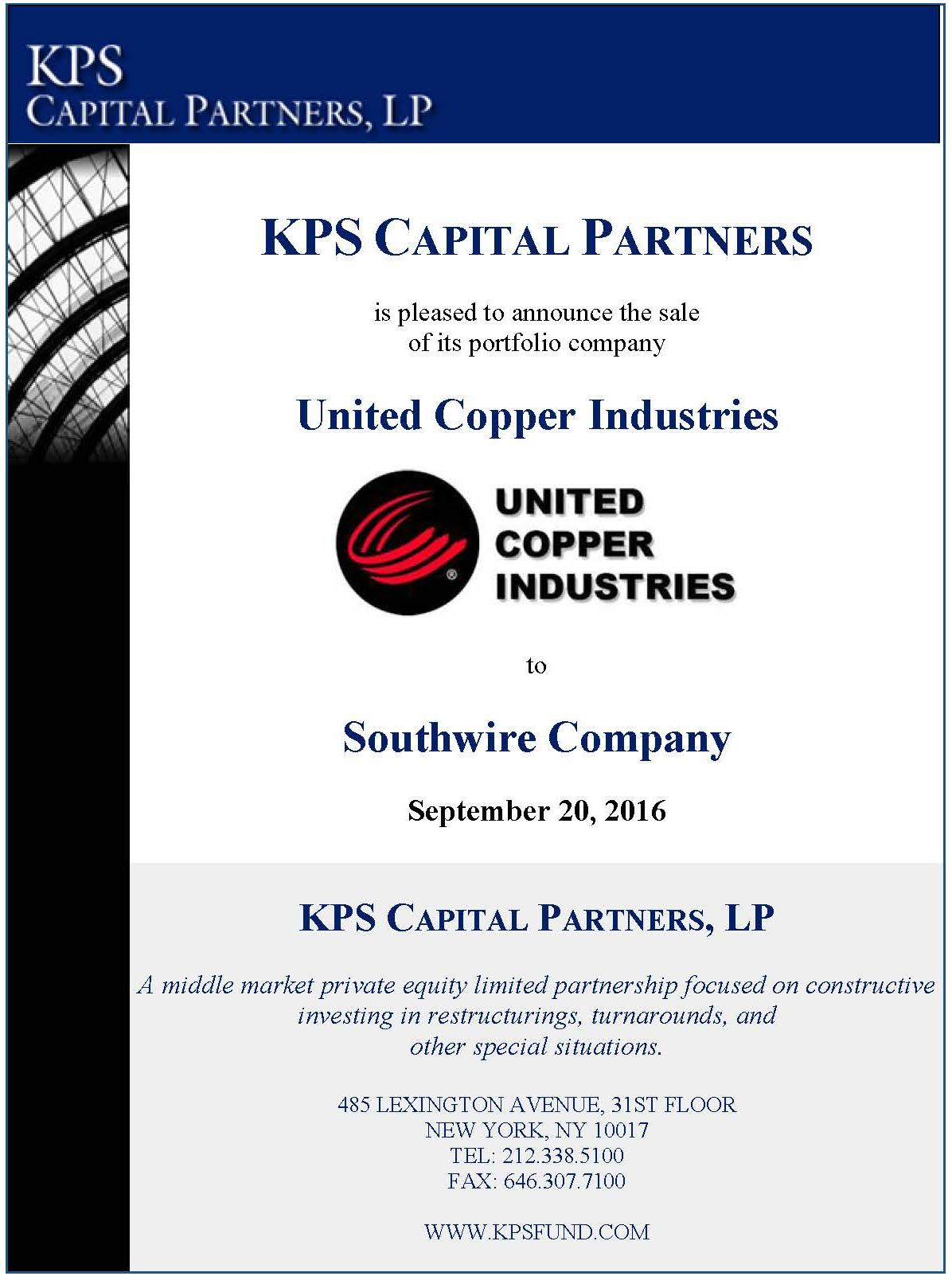 United Copper Industries, KPS Capital Partners